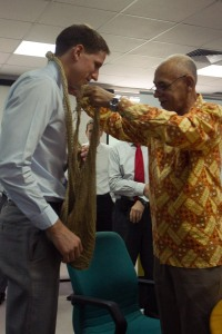 Dr. Henry Welch with Michael Malabag, Papua New Guinea minister of health