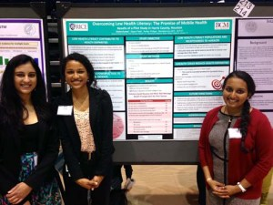 Dr. Arya's mentees at the Rice Undergraduate Research Symposium: from left to right, Disha Kumar, Ashley Phillips and Sajani Patel