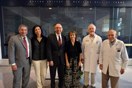 Dr. Paul Klotman with Baylor NAS members (from left to right) Drs. Huda Zoghbi, Martin Matzuk, Dora Angelaki, Bert O'Malley and Salih Wakil