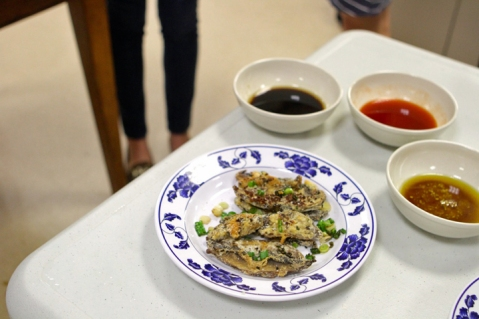 Pan-fried mushrooms with a trio of sauces