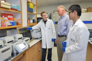 Ian Campbell in the lab with mentor Dr. Pawel Stankiewicz and student Bo Yuan