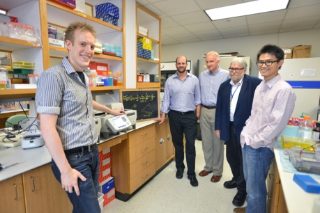 Ian Campbell with research co-authors Drs. Chad Shaw, Pawel Stankiewicz and James Lupski and student Bo Yuan