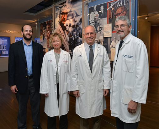 From left to right, Drs. Chad Shaw, Alica Goldman, Jeffrey Noebels and John Belmont