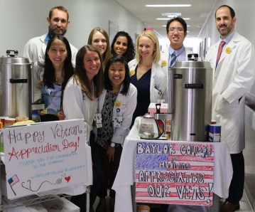 Baylor students show their support for patients at the DeBakey VA Medical Center.