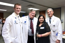 Dr. Sean Groth, Dr. Sugarbaker and Dr. Rosenberg with patient services coordinator Divya Mehta.