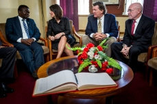 Honorable Dr. Peter Kumpalume, minister of health, Republic of Malawi, with Melissa Walsh, Mike Mizwa and Dr. David Poplack. ( Photo by Smiley N. Pool / © 2016 )