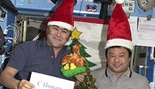 Dr. Leroy Chiao in space at the holidays