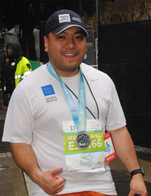 Dr. Irvin Sulapas at Houston's half marathon in January.
