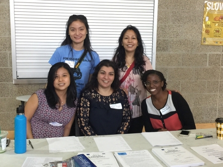 Sally Huang and other Baylor volunteers at the refugee health fair.