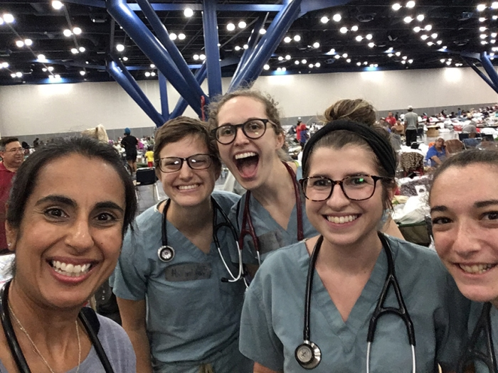Dr. Monisha Arya and medical students at the shelter set up at the George R. Brown Convention Center for Harvey evacuees.
