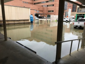 Flooding by the loading dock at main Baylor.