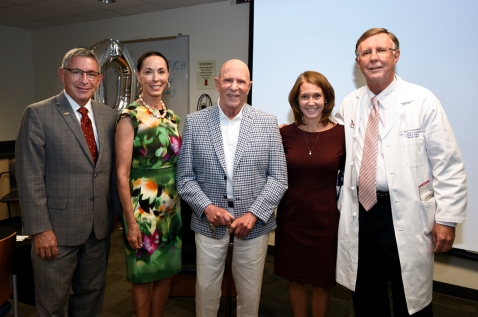 Lester and Sue Smith with Drs. Paul Klotman, Emily Sedgwick and Kent Osborne.