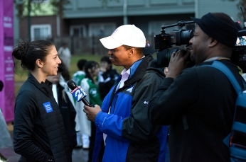 Carli being interviewed by KPRC's Khambrel Marshall.