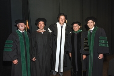 Honorary degree recipients with Dr. Klotman and board chair Fred Lummis.