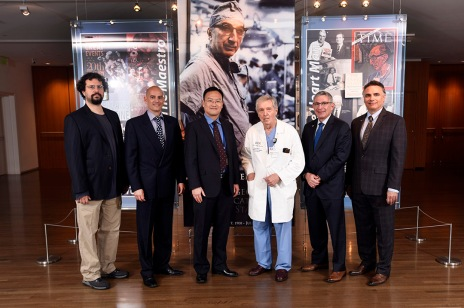 Left to right, Dr. Erez Aiden, Dr. Karl-Dimiter Bissig and Dr. Xiang Zhang with Drs. George Noon, Paul Klotman and Adam Kuspa.