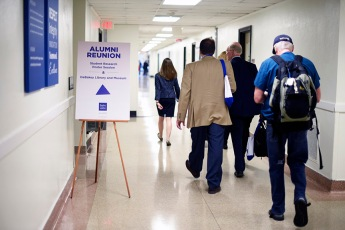 Walking in hallway