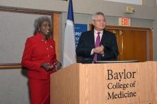 Dr. Brendan Lee introduces speaker Dr. Hannah Valantine of the NIH.