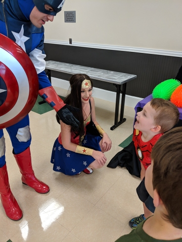 Charrise Wright's son Ethan with some superhero friends!