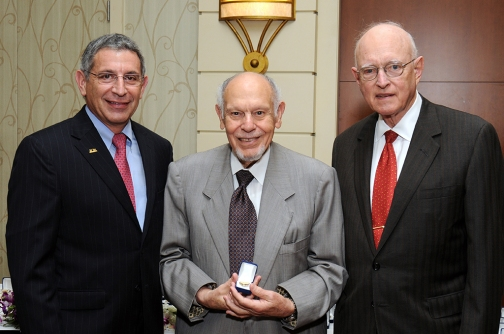 With Dr. Paul Klotman and the late Dr. Bill Butler, and with Dr. Adam Kuspa at right.