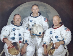 Apollo 11 crew Neil Armstrong, Michael Collins and Buzz Aldrin.