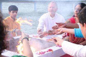 Ed Fink at an ashram fire ceremony.