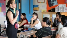Dr. Peggy Smith talks with adolescents about health